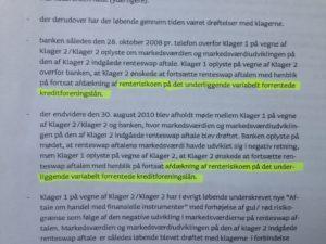 Jyske Bank siger vi har bevis byrden, på at jyske bank har handlet i strid med redelig handlemåde