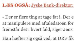 Jyske bank BEDEAGER KUNDE MED FALSK LÅN OG FALSK RENTEBYTTE